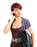Mobile subscriber on cell phone. Female business student isolated white background Stock Photos