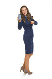 Business woman cell phone and pointing in camera Royalty Free Stock Photos