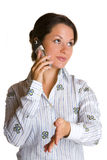 Business woman with cellphone Royalty Free Stock Image