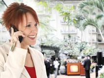 Business Woman on Cellphone at Gaylord Opryland Stock Photo