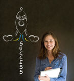 Business woman and chalk success rocket Stock Images