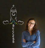 Business woman and chalk success rocket Royalty Free Stock Photos