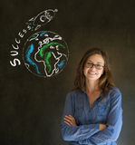 Business woman and chalk success rocket Stock Photos