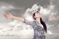 Business woman champion concept outdoor Royalty Free Stock Photo
