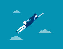 Business woman character flying through sky. Concept business. Illustration. Vector flat for website Stock Photo
