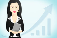 Business woman character formally dressed and holding a book Stock Photo