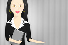 Business woman character formally dressed and holding a book with outstretched hand pointing to right Stock Photography