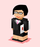 Business woman character illustration. Business woman bring file. Business woman working. Flat design. Royalty Free Stock Photo