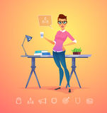Business woman character. Isolated vector illustration. Stock Photo