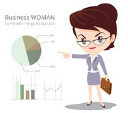 Business woman character skirt suit Glasses. Vector of Business woman character look so smart pointing graph go to success Stock Photo