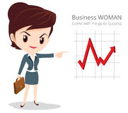 Business woman character skirt suit. Vector of Business woman character look so smart pointing graph go to success Stock Photography