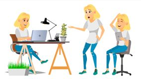 Business Woman Character Vector. Blonde Woman Various Views. Environment Process. Businesswoman Lady In Various Poses Stock Photos