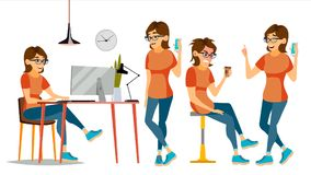 Business Woman Character Vector. Female In Different Poses. Clerk In Office Clothes. Designer, Manager. Cartoon. Business Woman Character Vector. In Action. IT Royalty Free Stock Images