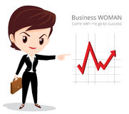 Business woman character. Vector of Business woman character look so smart pointing graph go to success Stock Photography