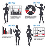 Business Woman with Charts set Royalty Free Stock Image