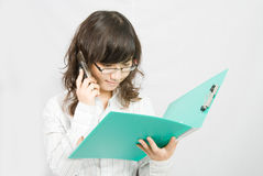 Business Woman Check Files Stock Photography