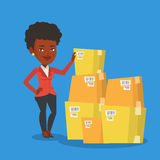 Business woman checking boxes in warehouse. An african businesswoman working in warehouse. Businesswoman checking boxes in warehouse. Young business woman vector illustration