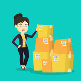 Business woman checking boxes in warehouse. Asian business woman working in warehouse. Business woman checking boxes in warehouse. Young business woman vector illustration
