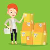 Business woman checking boxes in warehouse. Caucasian businesswoman working in warehouse. Businesswoman checking boxes in warehouse. Young business woman royalty free illustration