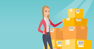Business woman checking boxes in warehouse. Caucasian business woman working in warehouse. Businesswoman checking boxes in warehouse. Business woman preparing royalty free illustration