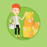 Business woman checking boxes in warehouse. Business woman working in warehouse. Woman checking boxes in warehouse. Business woman preparing goods for dispatch royalty free illustration