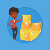 Business woman checking boxes in warehouse. Business woman working in warehouse. Woman checking boxes in warehouse. Business woman preparing goods for dispatch stock illustration