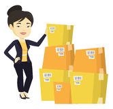 Business woman checking boxes in warehouse. Business woman working in warehouse. Business woman checking boxes in warehouse. Business woman preparing goods for stock illustration