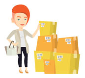Business woman checking boxes in warehouse. Young caucasian business woman checking cardboard boxes in warehouse. Young business woman preparing goods for vector illustration