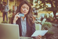 Business woman checking a count. Business person royalty free stock images