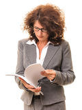 Business woman checking files Stock Image