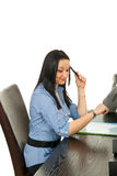 Business  woman checking watch. Bored business woman checking time at meeting Royalty Free Stock Image