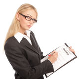 Business woman with a checklist Royalty Free Stock Image