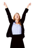 Business woman cheerful Stock Image
