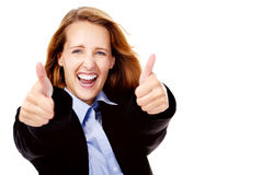 Business woman cheerful Royalty Free Stock Photos