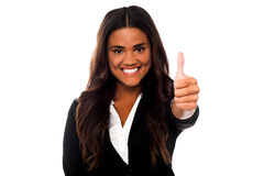 Business woman cheerful thumb up Stock Photography