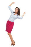 Business woman cheering Stock Images