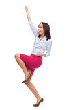 Business woman cheering Royalty Free Stock Images