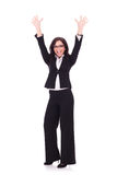 Business woman cheering Royalty Free Stock Photo