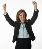 Business woman cheering her success Stock Photo
