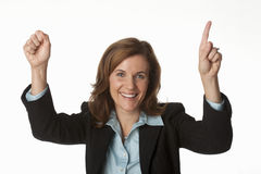 Business woman cheering number one Stock Photography