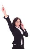 Business woman cheers on the phone Royalty Free Stock Image