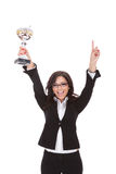 Business woman cheers with trophy Royalty Free Stock Photography