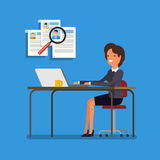 Business woman choosing person for hiring. Royalty Free Stock Images