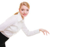 Business woman choosing picking up make deccision isolated Stock Photos