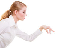 Business woman choosing picking up make deccision isolated Stock Photography