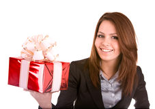 Business woman with christmas red box.