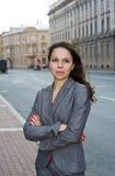 Business woman in the city. Beautiful business woman standing in the city Stock Photos
