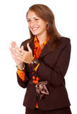 Business woman clapping Stock Photo