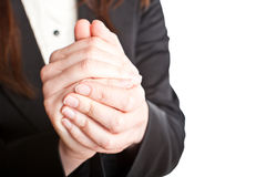 Business woman with clasped hands Stock Photography