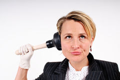 Business woman cleaning up Royalty Free Stock Images